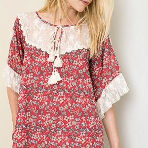 Red Floral Peasant Dress